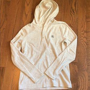Men's Express Waffle hooded long sleeve shirt- M